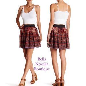 Aztec Print Chiffon Woven Mini Skirt Sz. LG=12/14